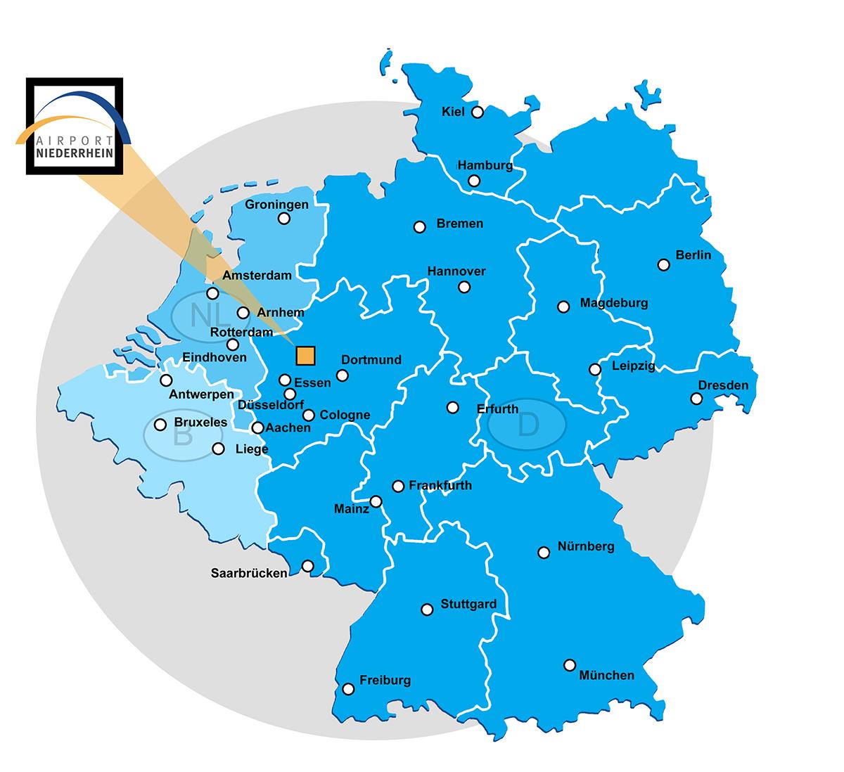 Landkarten Flughafen Niederrhein