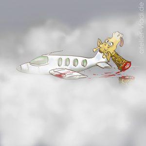 Giraffe Köpfen Kopf Flugzeug Unfall Cartoon
