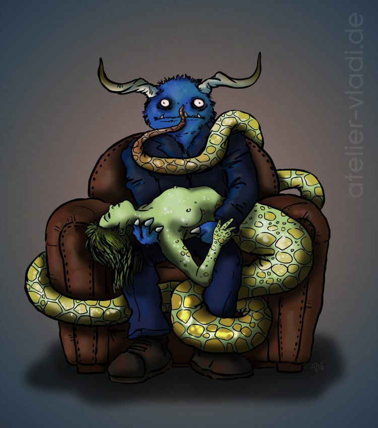 blaues monster schlangenfrau