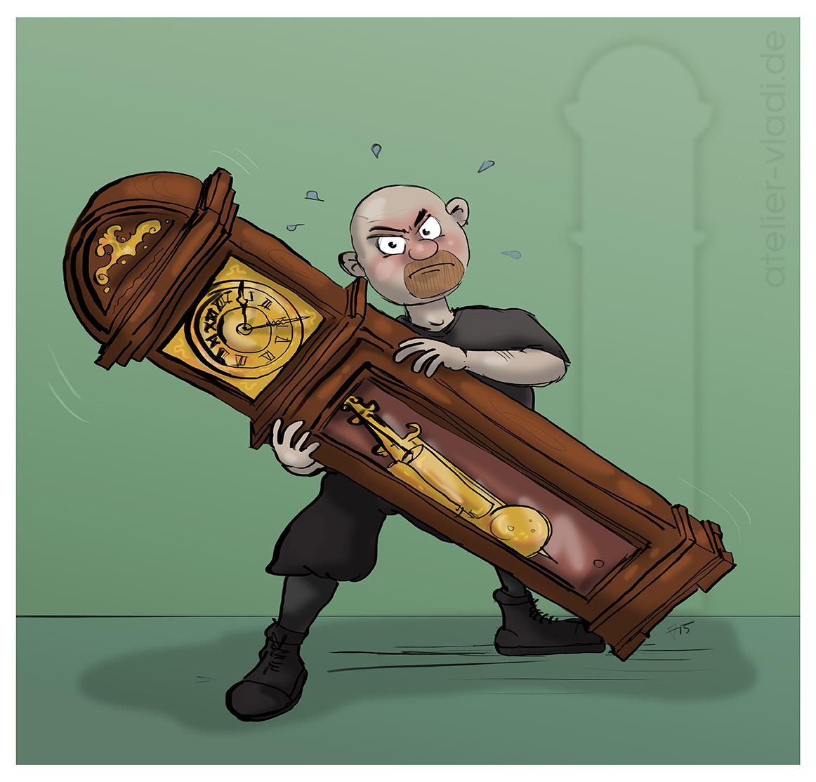 Uhr umstellung Cartoon