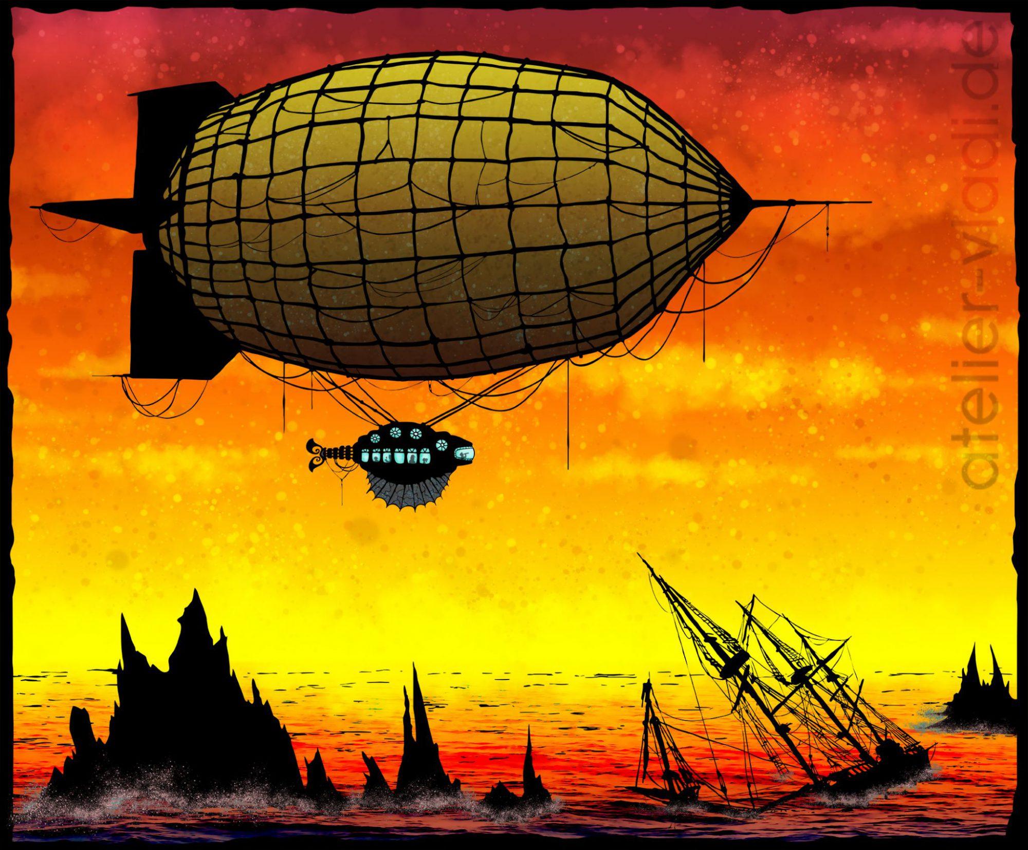 Luftschiff Luftschiffe Silhouette Zeppelin Ballon Steampunk