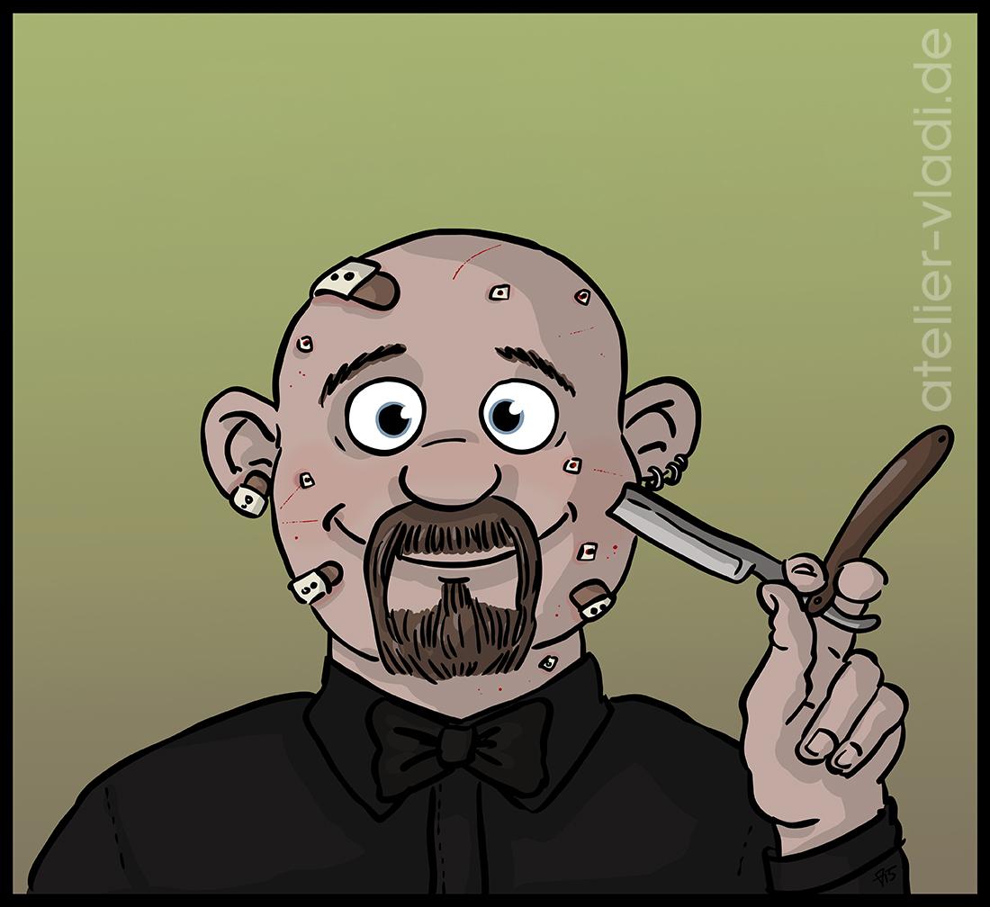 Rasiermesser Pflaster Wunden Cartoon Vladi
