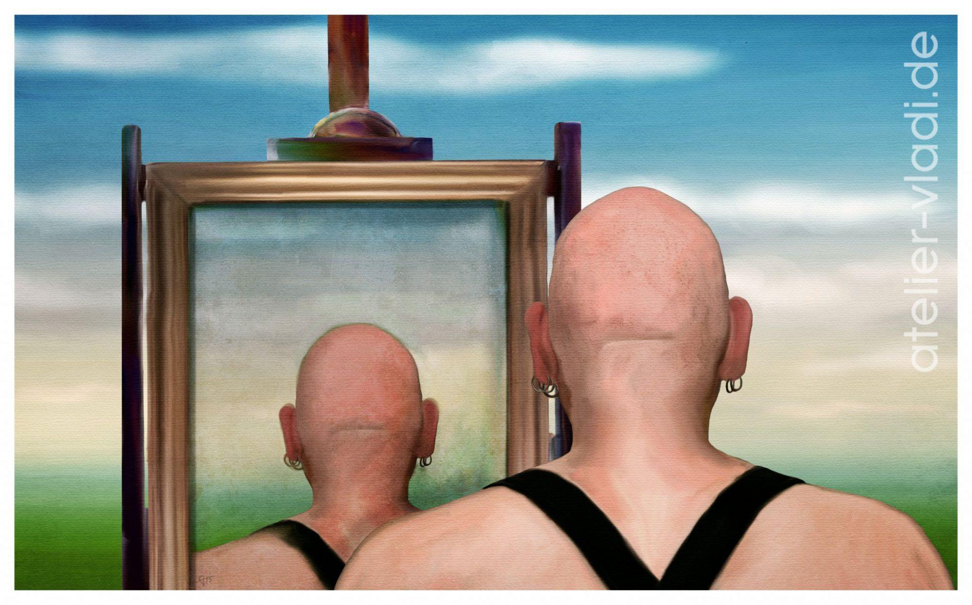 Selbstportrait Hosenträger Rücken Hinterkopf