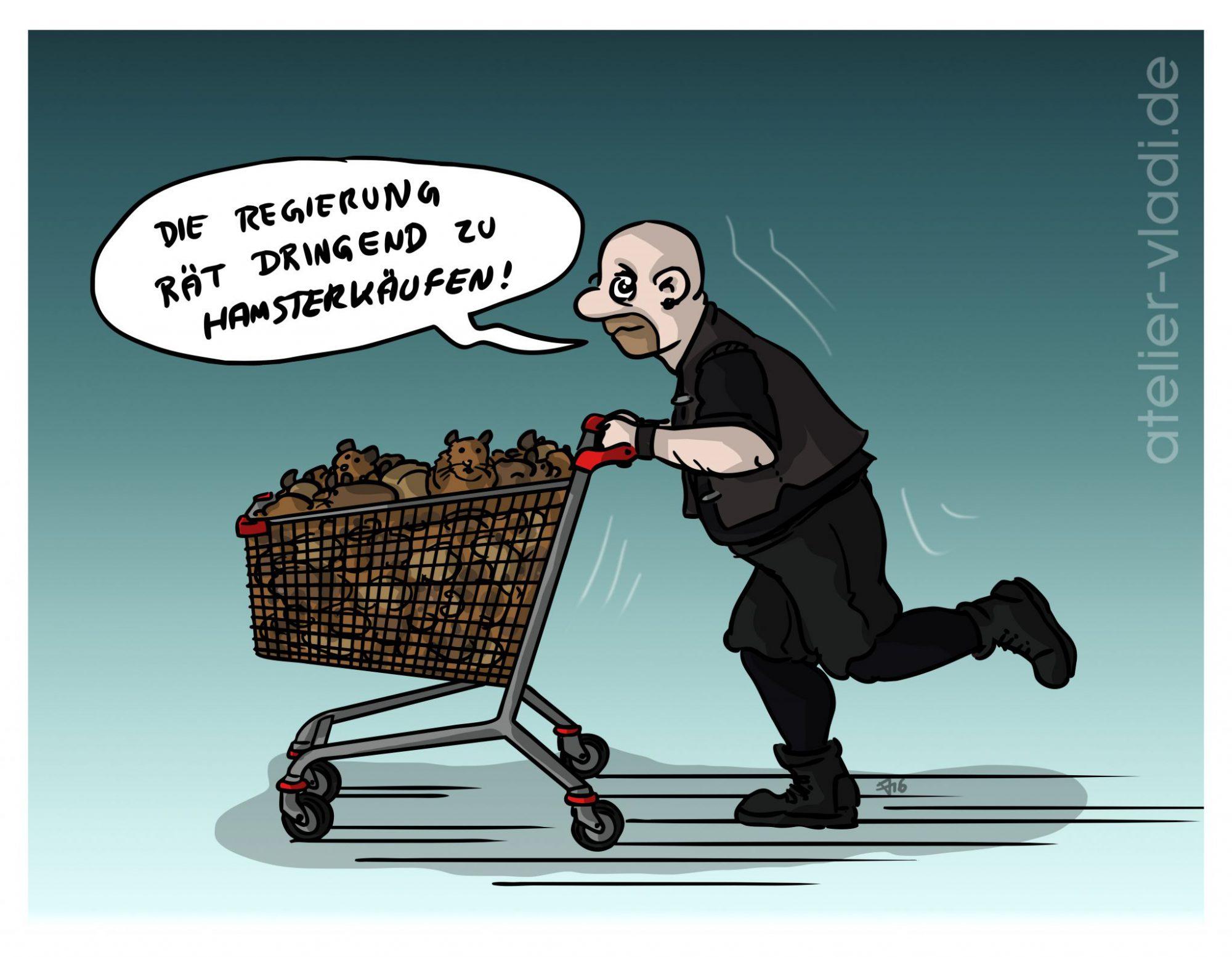 Cartoon Politisch politische Cartoons Karikaturen Hamster Hamsterkäufe Panikmache Cartoon