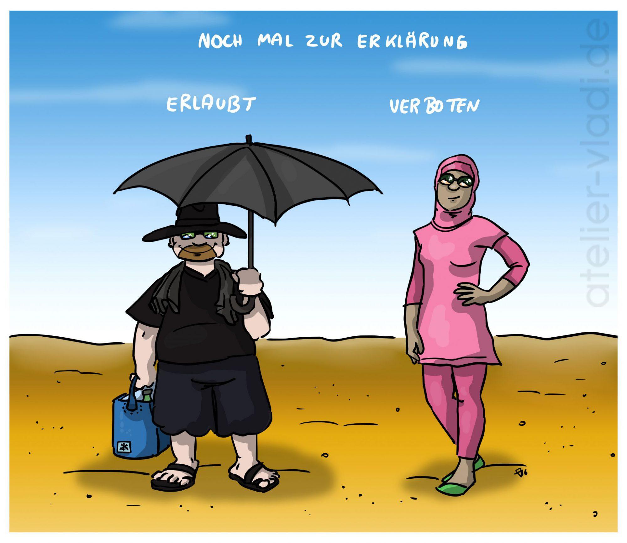 Cartoon Strand Burka Burkaverbot